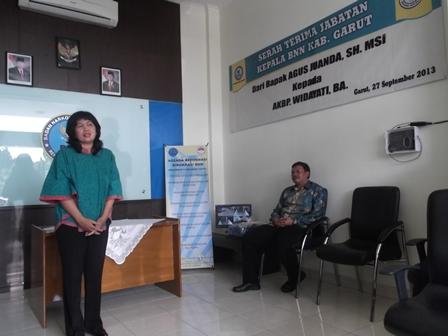 AKBP Widawati, BA Menjadi Kepala BNNK Garut, Seusai Sertijab, Jum'at (27/09). Foto: John.