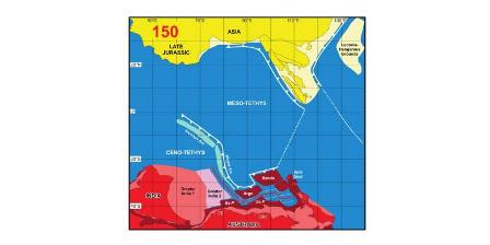 Rekonstruksi Asia Tenggara 150 juta tahun lalu. Di dekat Australia, terdapat Busur Woyla kemudian akan menyatu dengan Sumatera. (Robert Hall)