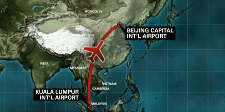 Rute penerbangan Malaysia Airlines yang hilang, Sabtu (08/03-2014) pagi. (CNN.com)