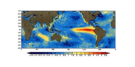 El Nino, fenomena kenaikan suhu muka laut di Samudera Pasifik memengaruhi pembentukan awan hujan. (Wikipedia).