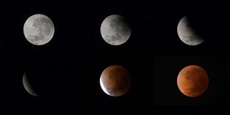 Gabungan enam foto menunjukkan fase gerhana bulan terpantau di Buenos Aires, 15 April 2014. Gerhana bulan kali ini terbilang langka karena bulan berubah warna dari oranye ke merah darah. (AFP PHOTO / JUAN MABROMATA).