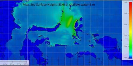 Prediksi para ahli, dengan gempa magnitudo 8,1, wilayah Sulawesi Utara, Maluku, dan sekitarnya berpotensi dihantam tsunami dengan ketinggian mencapai 5 meter. (Widjo Kongko).