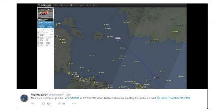 Prakiraan posisi Air Asia QZ 8501 hilang kontak menurut FlightRadar24. (BMKG).
