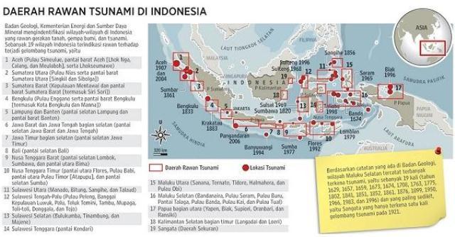 Daerah Rawan Tsunami Indonesia. (Sumber: ESDM Infografik: Andri/Gunawan).