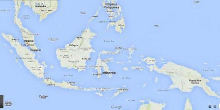 Peta Indonesia dan negara-negara di sekitarnya.(Google Map).