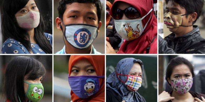 Gabungan beberapa foto yang direkam 2-11 April 2013 memperlihatkan warga mengenakan masker di jalanan Kota Jakarta. Penggunaan masker kini menjadi gaya hidup untuk sehat sekaligus tren warga di tengah udara ibu kota. (VITALIS YOGI TRISNA - RODERICK ADRIAN MOZES - AGUS SUSANTO)