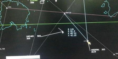 Bocoran data radar terakhir dari pesawat AirAsia berkode penerbangan QZ8501 sebelum hilang kontak pada Minggu (28/12/2014) pagi. (bangaloreaviation.com).