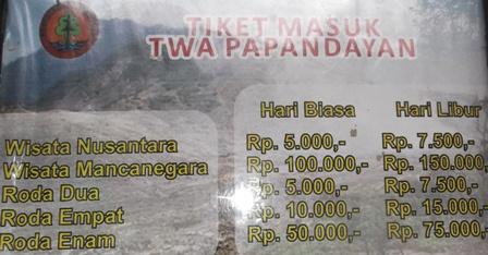 Inilah Tarif Tiket Masuk TWA Papandayan.