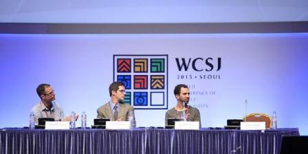 Sesi Data Jitsu dalam World Cobference of Science Journalists pada Kamis (11/6/2015) di Seoul. Dari kiri ke kanan adalah John Bohannon dari Harvard University, Justin Mayo dari Seattle Times, dan Jonathan Stray dari Columbia University. (WCS).