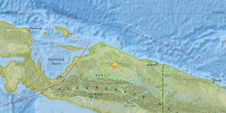 Ilustrasi episentrum gempa Mamberamo pada Selasa (28/7/2015). / USGS