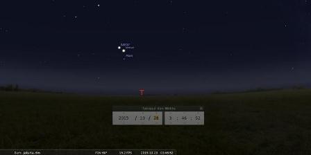 Ilustrasi konjungsi Venus, Mars, dan Jupiter pada Rabu (28/10/2015) dini hari. (Stellarium).