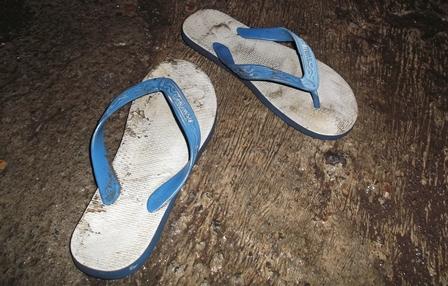 Sepasang Sandal Jepit, Ditinggalkan Pelaku Curanmor.