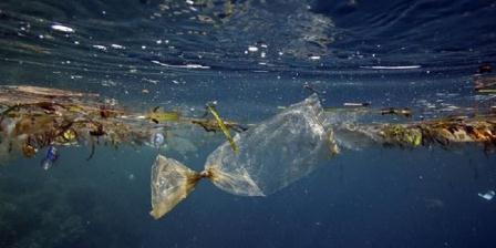 Sampah plastik di lautan. Ilmuwan menyatakan bahwa 99 persen plastik m ikroskopik di lautan hilang, kemungkinan dimakan hewan. (National Geographic).