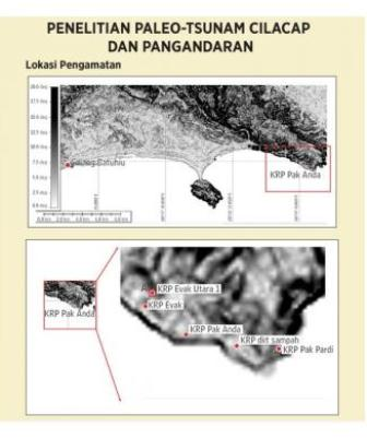 Lokasi Pengamatan dalam penelitian paleo tsunami di Cilacap dan Pangandaran. (BMKG/Ardiansyah/KOMPAS).