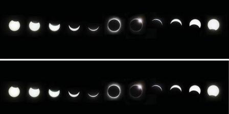 Kolase foto gerhana pada 22 Juli 2009, selang waktu dari foto terkiri sampai terkanan sekitar dua setengah jam. Foto diambil dari dilihat Kota Chongqing, China. Arsip Agatha Bunanta, pernah dimuat di harian Kompas, 4/8/2009. (Agatha Bunanta).