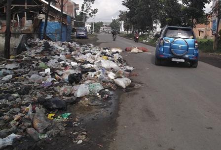 Sampah Berserakan di jalan Guntur Cendana Ciawitali.