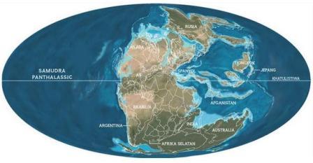 Batas-batas negara dan garis-garis pantai saat ini tumpang tindih pada Pangaea 250 juta tahun silam. Beberapa wilayah dunia modern tidak terlihat; kerak benua mereka terbentuk belakangan. (JEROME N. COOKSON, STAF NGM. SUMBER: RON BLAKEY, COLORADO PLATEU GEOSYSTEMS).