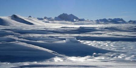 Area di atas wilayah pegunungan di bawah es Ellsworth Subglacial Highlands di Antartika. (Newcastle University).