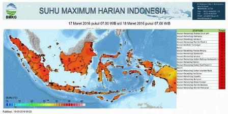 Suhu udara maksimum di Indonesia pada 17-18 Maret 2016. (BMKG).