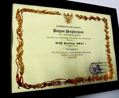 Salah-satu Penghargaan Tingkat provinsi Jawa Barat.