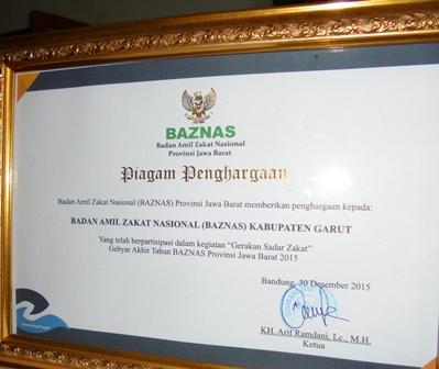 Salah Satu Penghargaan Diperoleh Baznas Kabupaten Garut.
