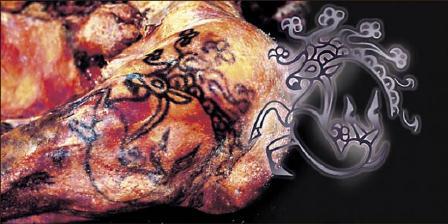 Tato Putri Ukok yang menggambarkan hewan fantasi beserta ilustrasi gambar yang dibuat oleh ilmuwan asal Siberia. (Institute of Archeology and Ethnography).