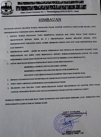 Himbauan Kepala UPTD Perindagpas Tarogong Kidul.