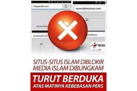 Protes netizen atas pemblokiran situs media Islam. (facebook).