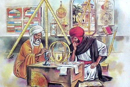 Ilustrasi ilmuwan Muslim saat mengembangkan sains dan teknologi pada era Dinasti Abbasiyah di Baghdad. (WordPress.com).
