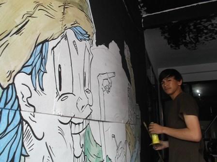 M. Erwin Ramadhan, Ilustrator Garut News, Garap Lukisan Kedai Kopi.