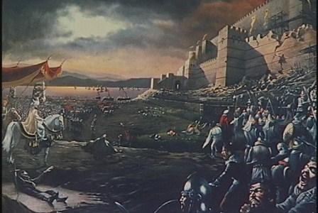 Lukisan saat Sultan Muhammad al-Fatin merebut kota Konstantinopel. (IST).