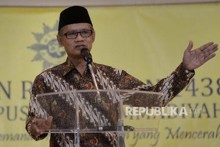 Ketum PP Muhammadiyah Haedar Nashir memberikan Pengkajian Ramadhan 1438 H PP Muhammadiyah di kampus UMJ, Jakarta, Senin (5/6). (Republika/ Yasin Habibi).