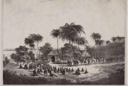 Pangeran Diponegoro naik kuda, mengenakan jubah da surban, ketika beristirahat bersama pasukannay di tepisan sungai Progo, pada penghujung tahun 1830. (IST).